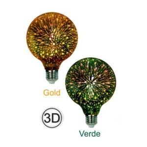 Bombilla Led E27 efecto 3D Verde y Oro